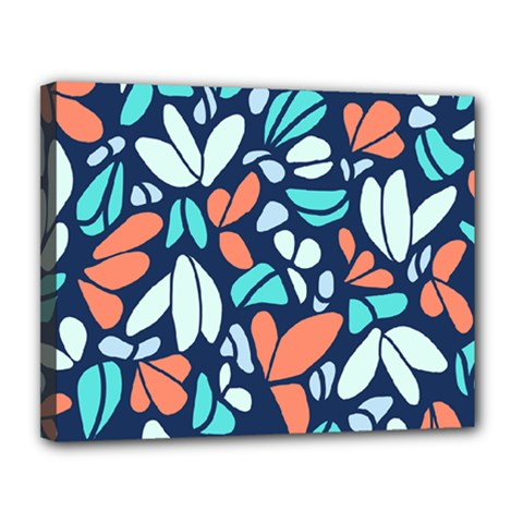 Blue Tossed Flower Floral Canvas 14  X 11  by Mariart