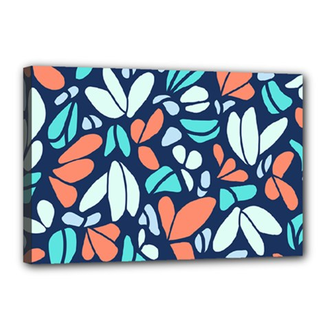 Blue Tossed Flower Floral Canvas 18  X 12  by Mariart