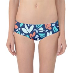 Blue Tossed Flower Floral Classic Bikini Bottoms
