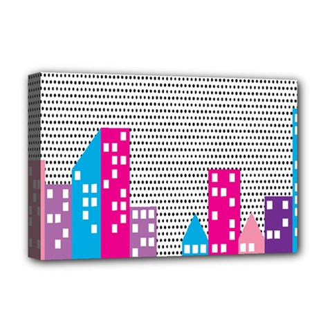 Building Polka City Rainbow Deluxe Canvas 18  X 12   by Mariart