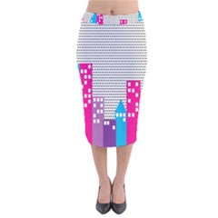 Building Polka City Rainbow Velvet Midi Pencil Skirt