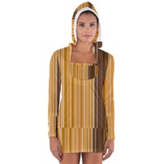 Brown Verticals Lines Stripes Colorful Long Sleeve Hooded T-shirt by Mariart