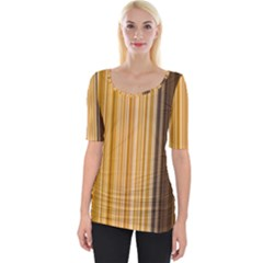 Brown Verticals Lines Stripes Colorful Wide Neckline Tee by Mariart