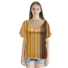 Brown Verticals Lines Stripes Colorful V Neck Flutter Sleeve Top