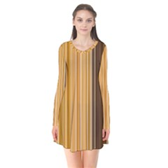 Brown Verticals Lines Stripes Colorful Flare Dress by Mariart