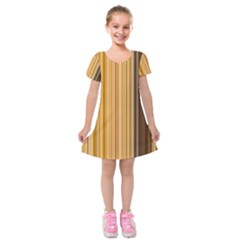 Brown Verticals Lines Stripes Colorful Kids  Short Sleeve Velvet Dress by Mariart