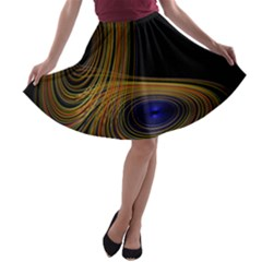Wondrous Trajectorie Illustrated Line Light Black A Line Skater Skirt