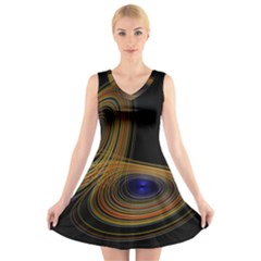 Wondrous Trajectorie Illustrated Line Light Black V Neck Sleeveless Skater Dress by Mariart