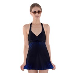 Colorful Light Ray Border Animation Loop Blue Motion Background Space Halter Swimsuit Dress by Mariart