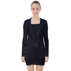 Colorful Light Ray Border Animation Loop Blue Motion Background Space V Neck Bodycon Long Sleeve Dress by Mariart