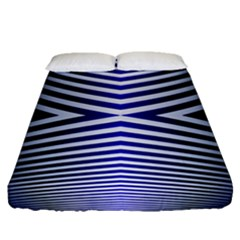 Blue Lines Iterative Art Wave Chevron Fitted Sheet (queen Size) by Mariart