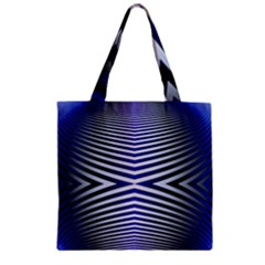 Blue Lines Iterative Art Wave Chevron Zipper Grocery Tote Bag by Mariart