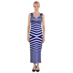 Blue Lines Iterative Art Wave Chevron Fitted Maxi Dress