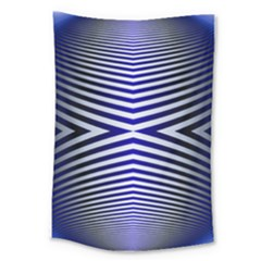 Blue Lines Iterative Art Wave Chevron Large Tapestry