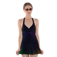 Colorful Light Ray Border Animation Loop Rainbow Motion Background Space Halter Swimsuit Dress by Mariart