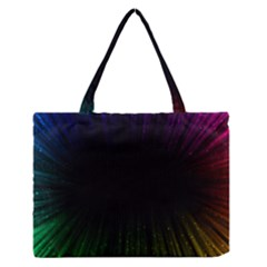 Colorful Light Ray Border Animation Loop Rainbow Motion Background Space Zipper Medium Tote Bag by Mariart