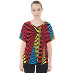 Door Pattern Line Abstract Illustration Waves Wave Chevron Red Blue Yellow Black V Neck Dolman Drape Top
