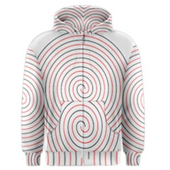 Double Line Spiral Spines Red Black Circle Men s Zipper Hoodie