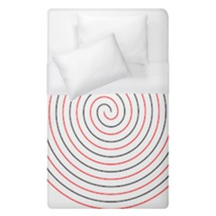 Double Line Spiral Spines Red Black Circle Duvet Cover (single Size) by Mariart