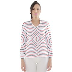 Double Line Spiral Spines Red Black Circle Wind Breaker (women) by Mariart
