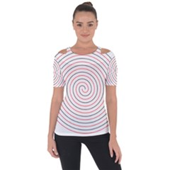 Double Line Spiral Spines Red Black Circle Short Sleeve Top by Mariart