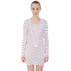 Double Line Spiral Spines Red Black Circle V Neck Bodycon Long Sleeve Dress by Mariart
