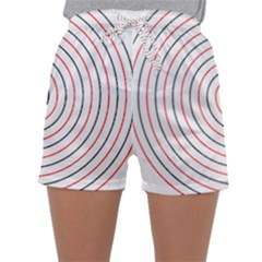 Double Line Spiral Spines Red Black Circle Sleepwear Shorts by Mariart