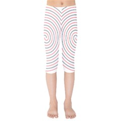 Double Line Spiral Spines Red Black Circle Kids  Capri Leggings  by Mariart