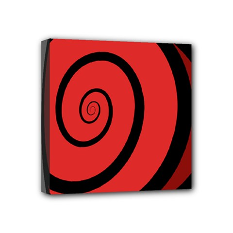 Double Spiral Thick Lines Black Red Mini Canvas 4  X 4  by Mariart