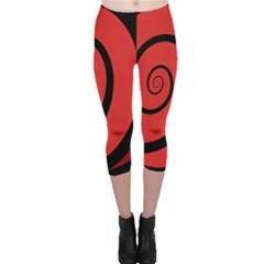 Double Spiral Thick Lines Black Red Capri Leggings  by Mariart