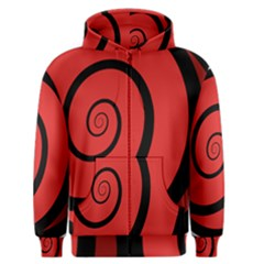 Double Spiral Thick Lines Black Red Men s Zipper Hoodie