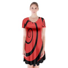 Double Spiral Thick Lines Black Red Short Sleeve V Neck Flare Dress by Mariart