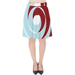 Double Spiral Thick Lines Blue Red Velvet High Waist Skirt
