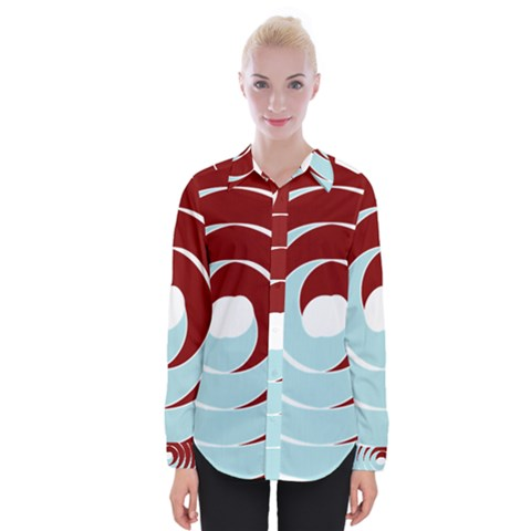 Double Spiral Thick Lines Blue Red Womens Long Sleeve Shirt by Mariart