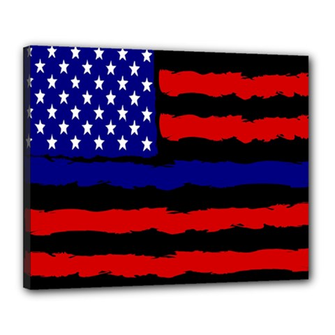 Flag American Line Star Red Blue White Black Beauty Canvas 20  X 16  by Mariart