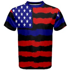 Flag American Line Star Red Blue White Black Beauty Men s Cotton Tee