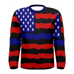 Flag American Line Star Red Blue White Black Beauty Men s Long Sleeve Tee