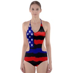 Flag American Line Star Red Blue White Black Beauty Cut-out One Piece Swimsuit by Mariart