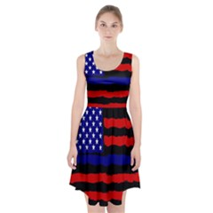 Flag American Line Star Red Blue White Black Beauty Racerback Midi Dress by Mariart