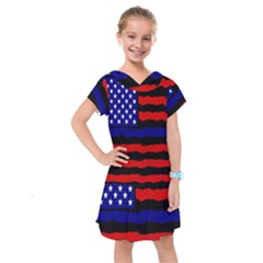 Flag American Line Star Red Blue White Black Beauty Kids  Drop Waist Dress by Mariart