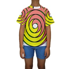 Double Spiral Thick Lines Circle Kids  Short Sleeve Swimwear by Mariart