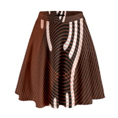 Fan Line Chevron Wave Brown High Waist Skirt by Mariart