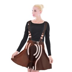 Fan Line Chevron Wave Brown Suspender Skater Skirt by Mariart