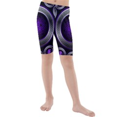 Digital Celtic Clock Template Time Number Purple Kids  Mid Length Swim Shorts by Mariart