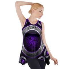 Digital Celtic Clock Template Time Number Purple Side Drop Tank Tunic by Mariart