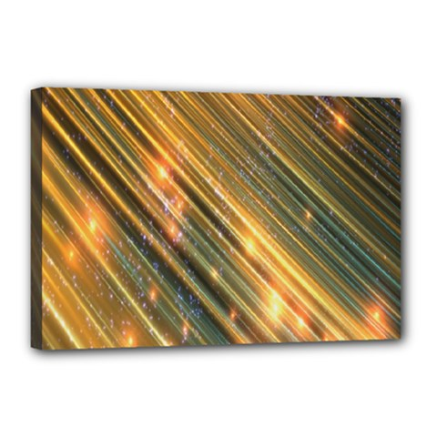 Golden Blue Lines Sparkling Wild Animation Background Space Canvas 18  X 12  by Mariart