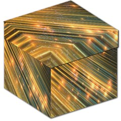 Golden Blue Lines Sparkling Wild Animation Background Space Storage Stool 12   by Mariart