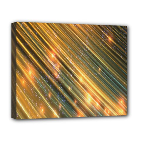 Golden Blue Lines Sparkling Wild Animation Background Space Deluxe Canvas 20  X 16   by Mariart
