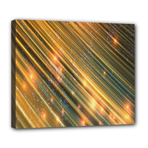 Golden Blue Lines Sparkling Wild Animation Background Space Deluxe Canvas 24  X 20   by Mariart