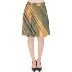 Golden Blue Lines Sparkling Wild Animation Background Space Velvet High Waist Skirt by Mariart